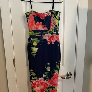 Midi spaghetti strap floral dress.